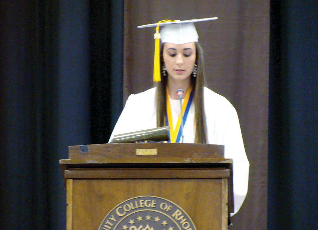 "VALEDTICTORIAN: Emily Almonte shares a moving speech about her sister, Lauren Almonte, who is the salutatorian for Vets. Vice Principal Cain joked that when Emily was told she was valedictorian, she ""cracked"" and told him she just wanted to beat her sister. He laughed when he said that Lauren had been thinking the same thing."