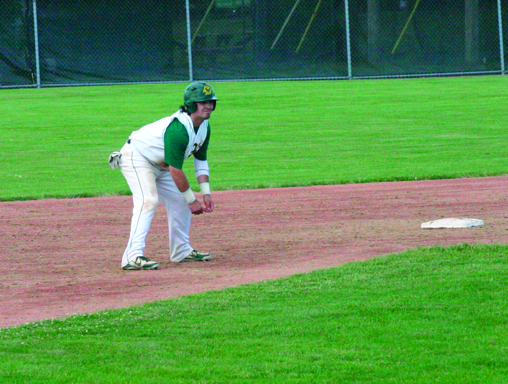 SELECT FEW: Hendricken senior designated hitter Sam Boulanger leads off second base earlier this postseason. Boulanger is one of three seniors in the every day lineup for the Hawks.