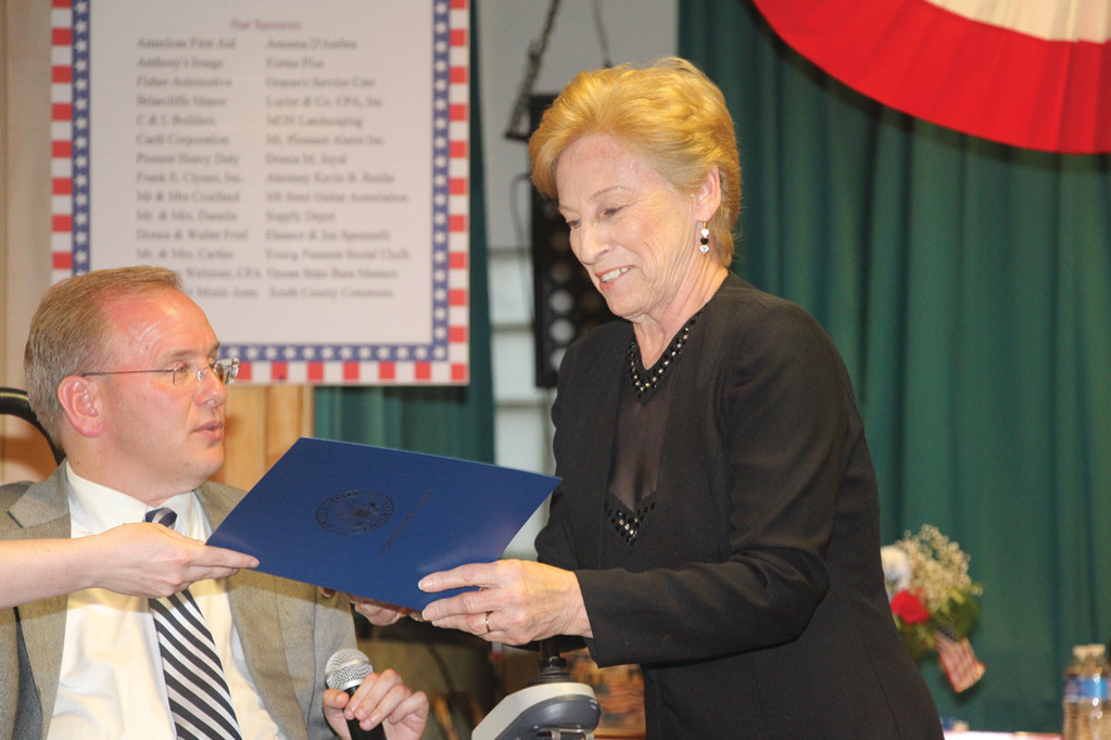HONOR QUILT: Charlotte Santucci of Cranston was also honored by the congressman.
