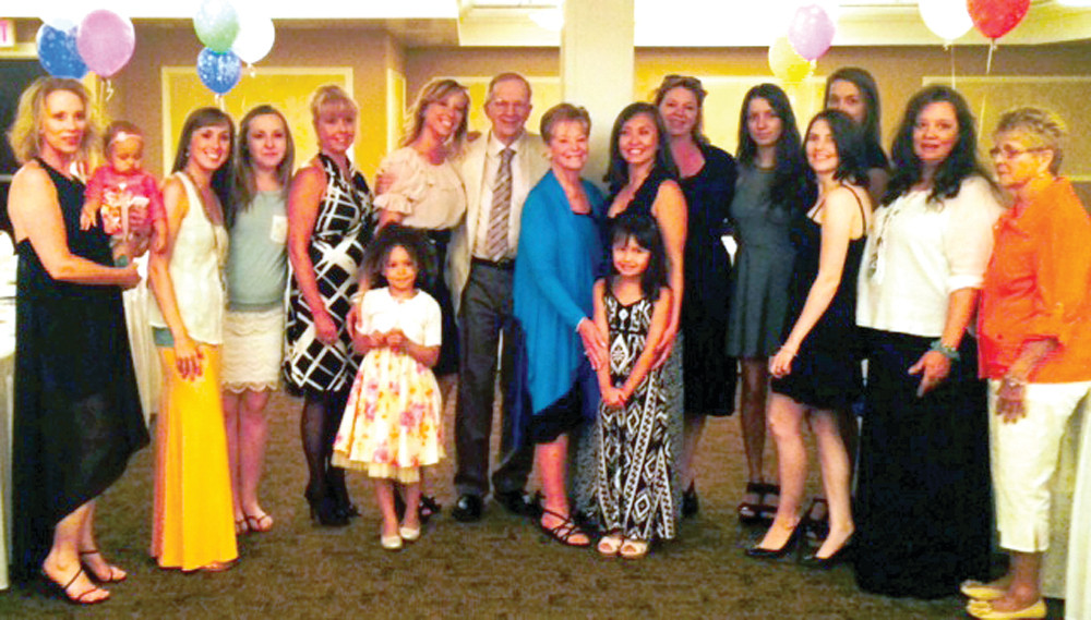 THE FAMILY�S ALL HERE: �Bud� has five children, 16 grandchildren and 14 great-grandchildren. All of them came out on Saturday the 14th to surprise �Bud� on his 80th birthday party held at the Radisson in Warwick.