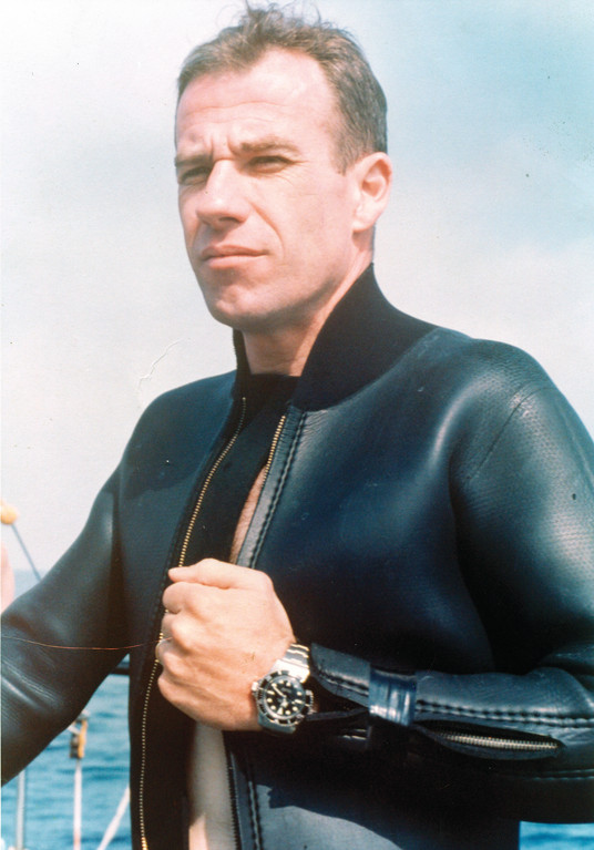 NOW AND THEN: The headshot is a recent photo of former Warwick resident, Bob Croft, who went on to break freedive records with the U.S. Navy and as a competitive diver who routinely went deeper than 200 feet without scuba equipment. The other photo is from an ad for Rolex watches, to prove that they could keep working deep underwater.