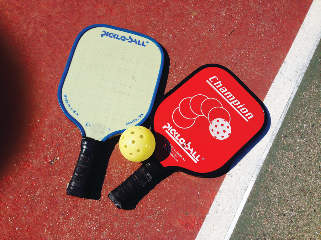 BALL AND RACQUET: The equipment used for pickleball features a paddle and a �Wiffle� type ball and can be found online at Sportsauthority.com and Amazon.com as well as many other stores online.