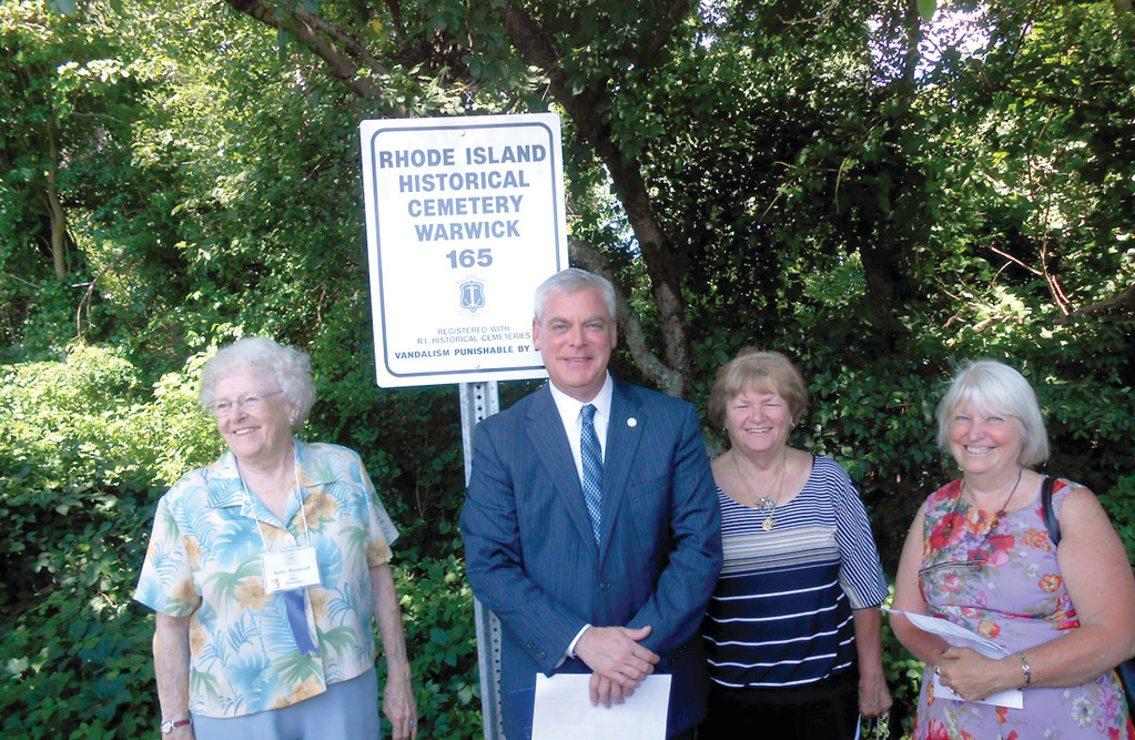 BACK ON THE MAP:  Mayor Scott Avedisian joins members of the Westcott family and the Warwick Historical Cemetery Commission at the site of the cemetery established in 1663.