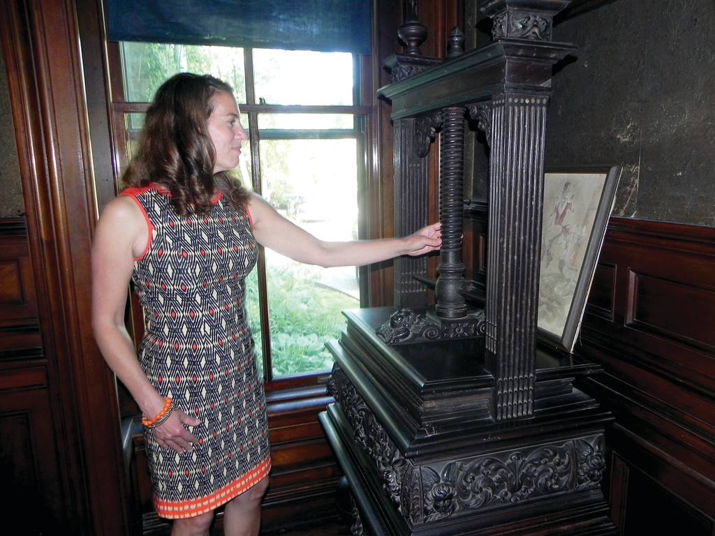 Most people these days can�t conceive of pressing table clothes and napkins with a medieval-looking linen press, but it was one of many duties that servants performed in well-to-do Victorian households.