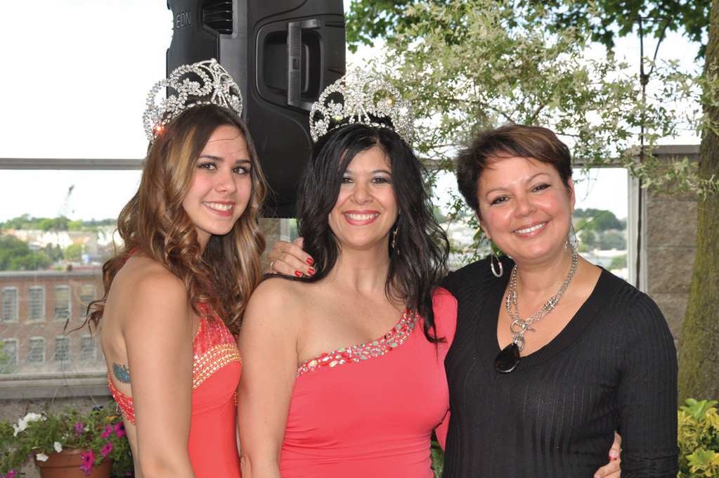 ALL SMILES: Gina Sabitoni-Arakelian, center, is all smiles after being crowned Mrs. Rhode Island Italia 2014. She is joined by last year's winner Malia Kamalani Paolino Cruz, left, and NBC10's Barbara Mores during the recent competition held at D'Vine Restaurant on Providence's Federal Hill.
