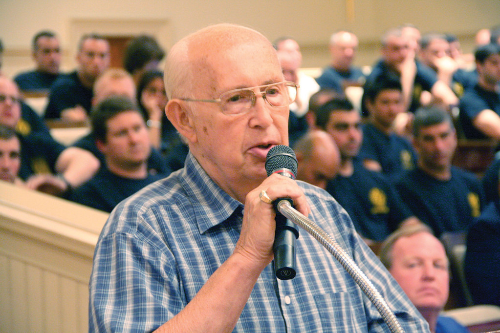 COMMUNITY SUPPORT: Derek Anderson, president of the Apponaug Area Improvement Association, voices the organization�s support for a hotel to be built in the village at Monday�s City Council meeting.