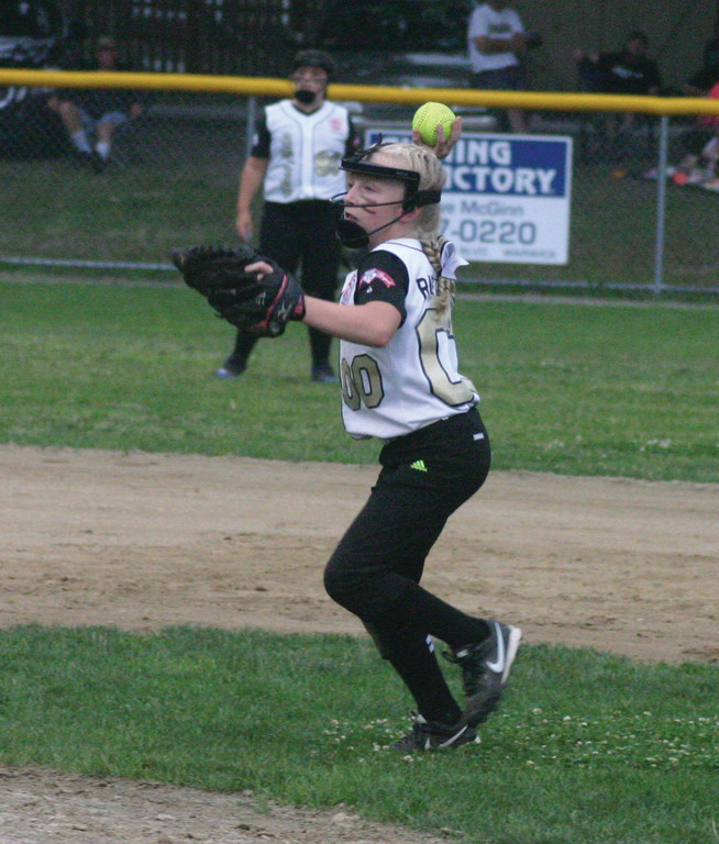 Bryanna Rastella gets set to throw the ball home.