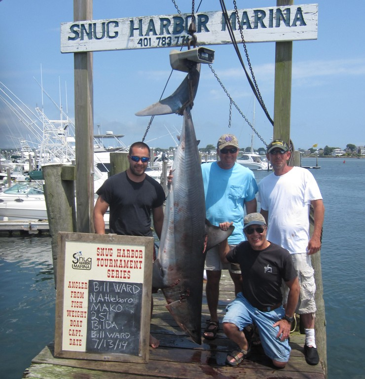 A 251-pound mako shark took first place in its category. Tom Lai, Bill Ward (captain and angler), John Durand and Ken Lai.