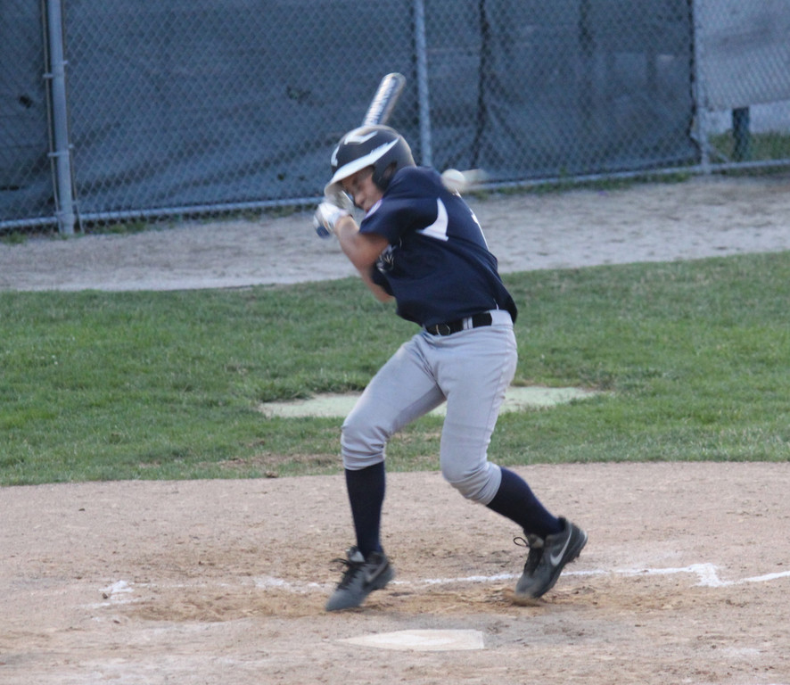 Will Martino gets hit with a pitch.