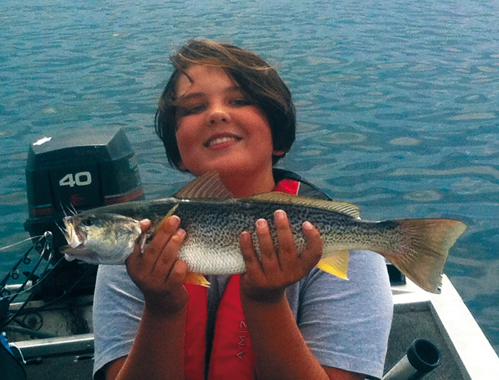 Weakfish (Squeteague) bite coming back. Logan Lemay of Bristol with the 21-inch weakfish he caught in Greenwich Bay.