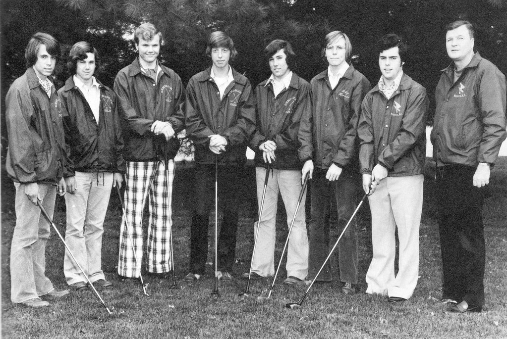 "THAT 70s SHOW: As a student at Bishop Hendricken High School, blind golfer Mike McKone, third from right, played golf and tennis with his good friend Ed Hewitt, third from left, with the plaid pants. They still play golf about once a week, in spite of the fact that McKone has been legally blind since 1979...And yet it's Ed Hewitt who thinks those pants are still ""sharp"""