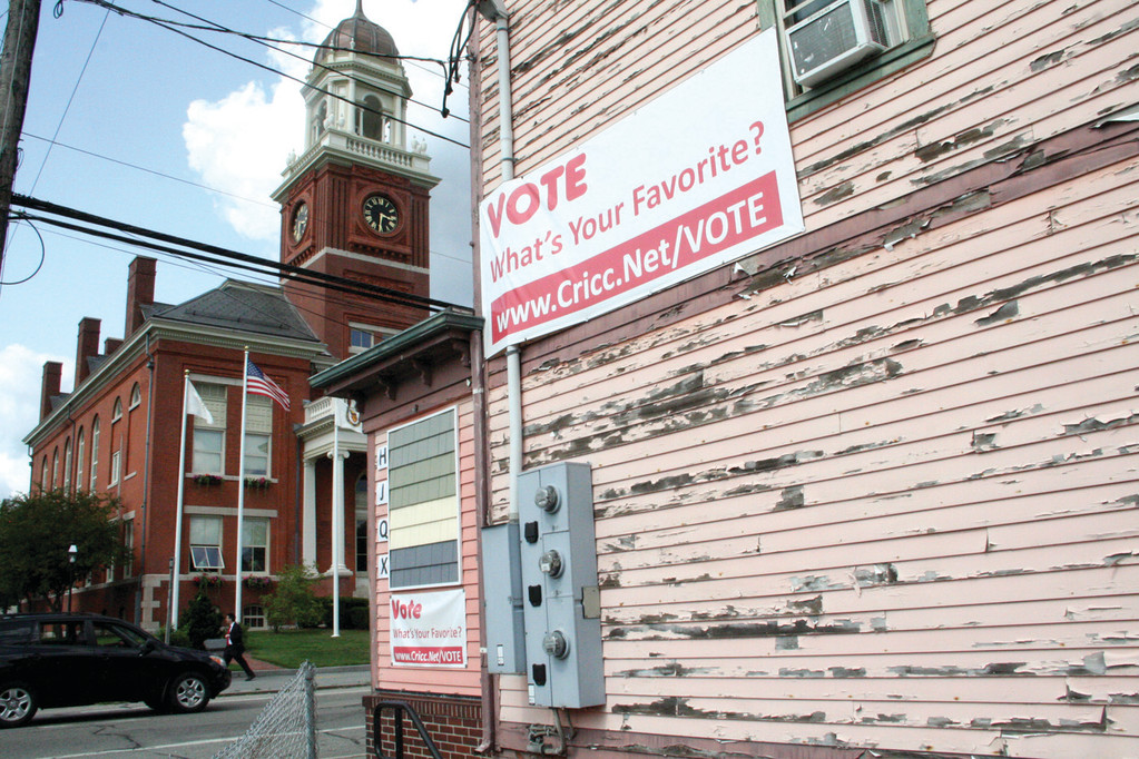 READY FOR A FACELIFT: The peeling chamber of commerce building across from City Hall will get a new look when a drive to raise $200,000 is completed. Meanwhile, people are urged to vote for their preferred color.