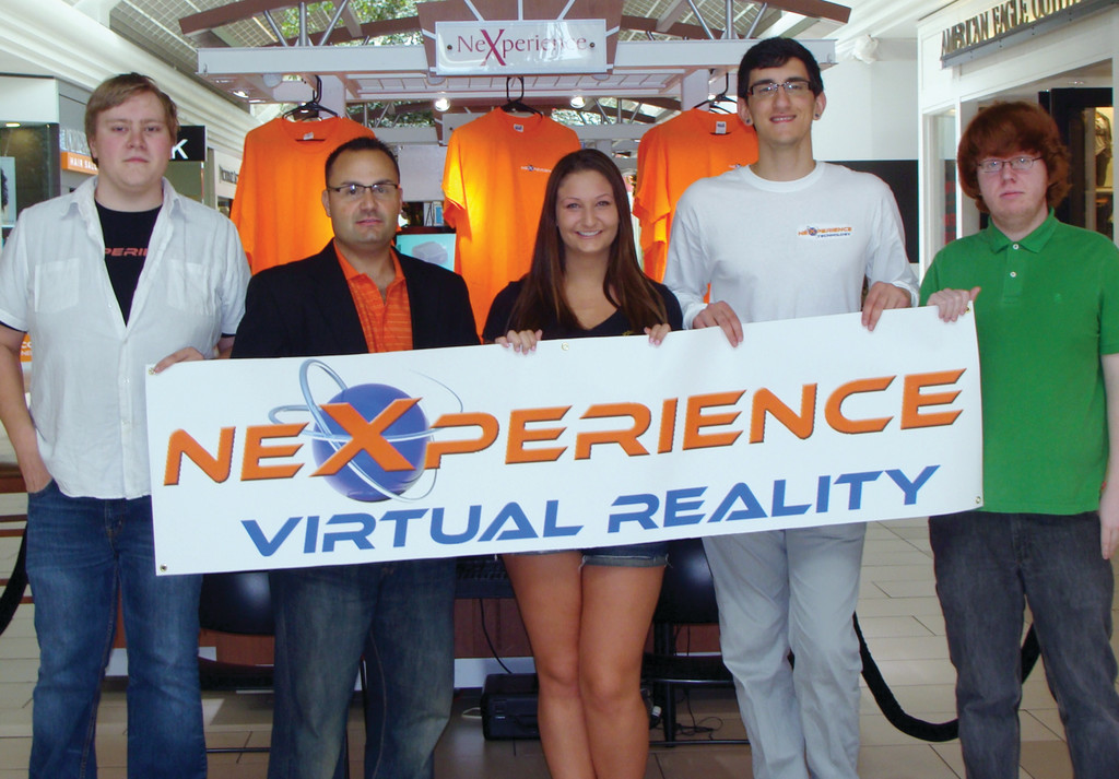 VIRTUAL REALITY: Nexperience, which just opened in the Warwick Mall, allows people to try and buy their new virtual reality software. Pictured from left to right is Sean Couepel, Aaron James, Tayla Manson, Jack Kayrouz and Alan Caprio.