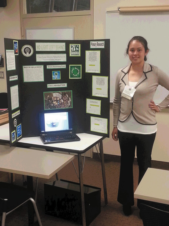 SUSTAINABILITY: Vickers presented her work at Bryant's Research and Engagement Day Conference. Her research was on the feasibility of implementing photovoltaic panels to the campus' streetlights.