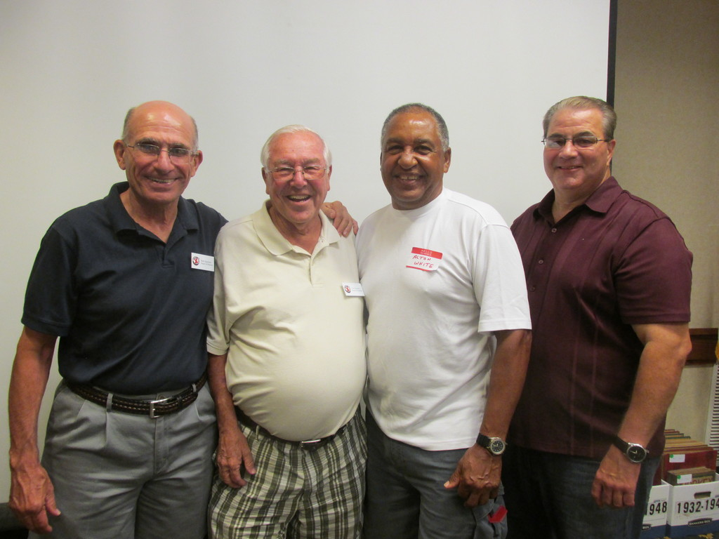 REDS REUNION: Among those Warwick residents who took part in last weekend�s 14th annual R.I. Reds Heritage Society Reunion, were, from left: Board members Bob Spaziano and Dick Bartlett, former Reds standout Alton White, and Stephen C. Boyle, Cranston Chamber of Commerce president and one-time West Bay Islanders Youth Hockey Association president.