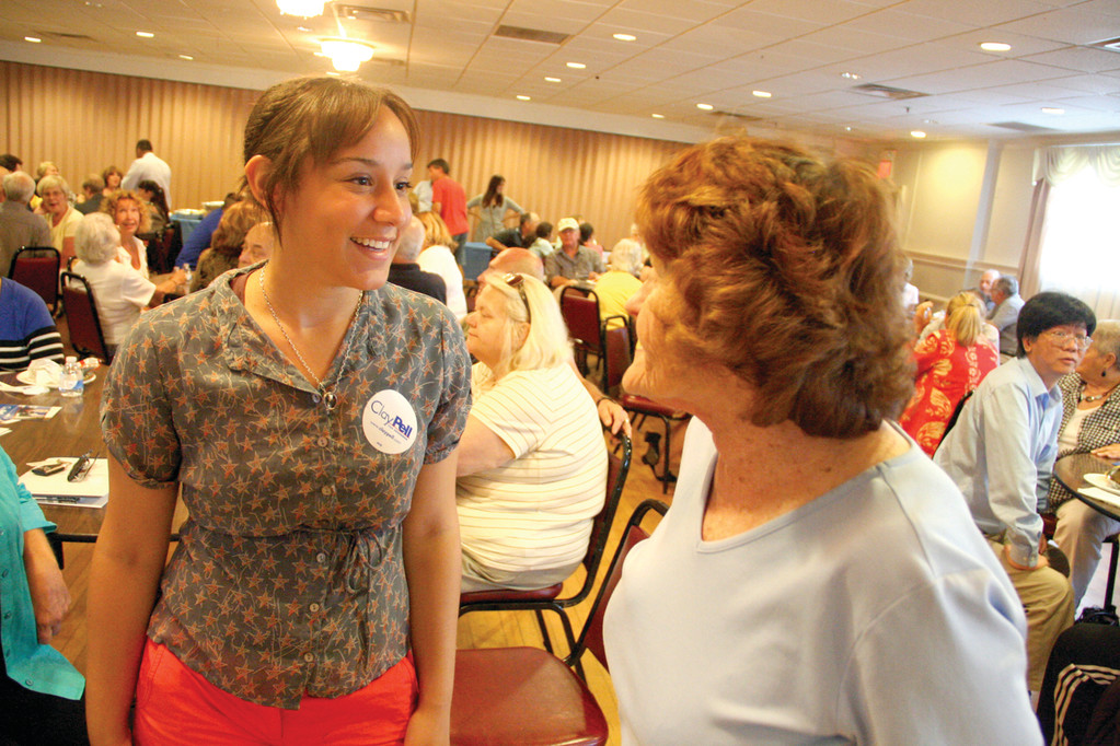 PELL VOLUNTEERS: Kathryn McDaniel and Hope Pilkington find lots to share in their support of gubernatorial candidate Clay Pell.