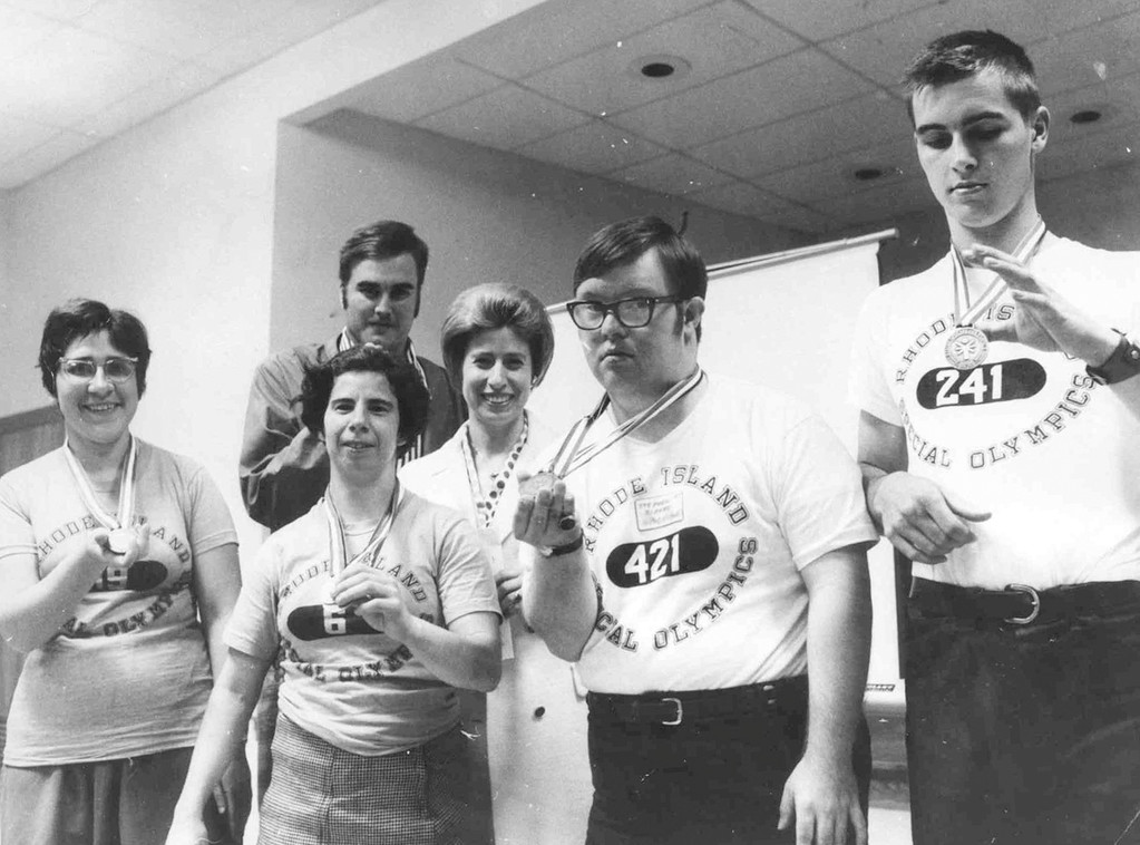 MEDALS: Participants show off their awards during the Special Olympics in 1970.
