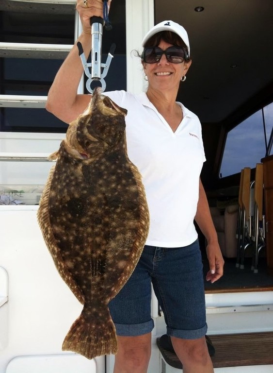 Charlestown fluke caught by Trish Cioe of Narragansett when fishing aboard the Patricia Ann Sunday.
