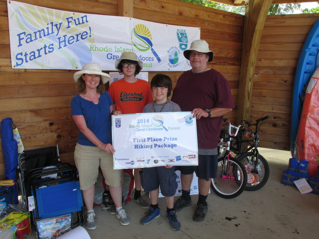 "First prize winners Kristen Curry, Justin Maytum and sons, Callan and Caleb (aka ""Team S'More Fun"") of Cranston won a family hiking package at the Grand Finale of the 2014 Rhode Island Great Outdoors Pursuit."