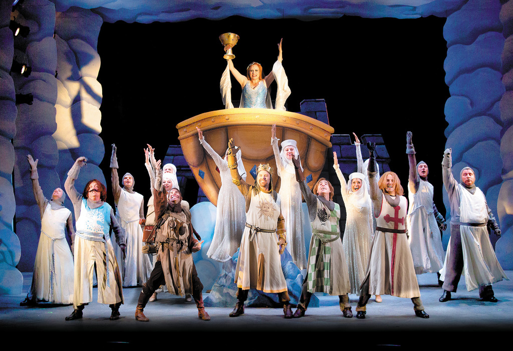 "The cast of Theatre-by-the-Sea's production of ""Spamalot,"" running through Sept. 7."