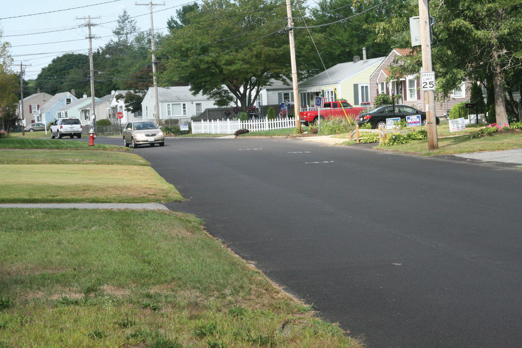 SMOOTHER AND FASTER: Easton Avenue is among those roads that have been repaved this spring and summer. A resident of the area said the repaving has been a blessing and a curse. While potholes are no longer an issue, he said speed on the road, which is often used as a cut-through, has increased.