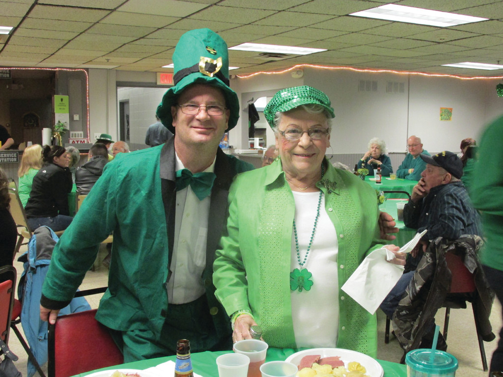 Steve Carmody and Maureen Nelson came decked out in true Irish garb for the St. Patrick's Party.