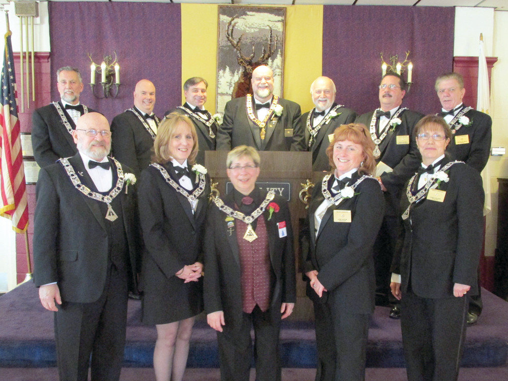 "LODGE LEADERS: This is the new leadership team, headed by Exalted Ruler Charles ""Charlie"" Greaves, who was sworn in Sunday at the Tri-City Elks Lodge No. 14 on West Shore Road."