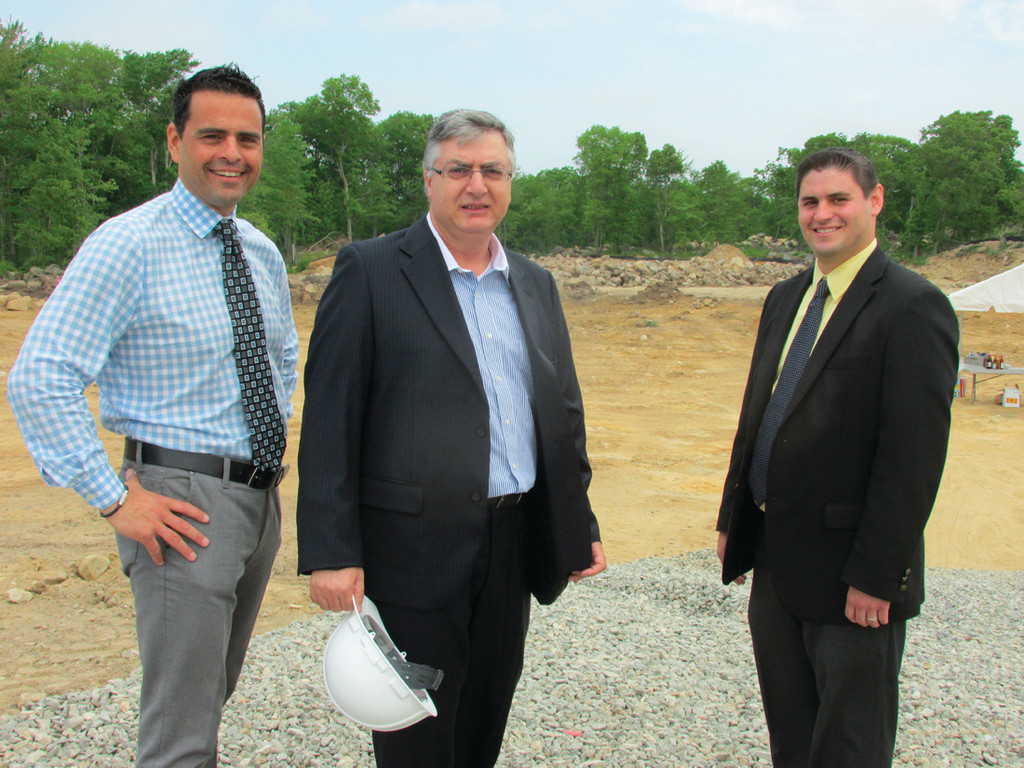 BREAKING GROUND: Town Council President Robert Russo and District I Councilman Richard DelFino III join Shlomi Palas, CEO of Blue Sphere, during the recent groundbreaking ceremony.