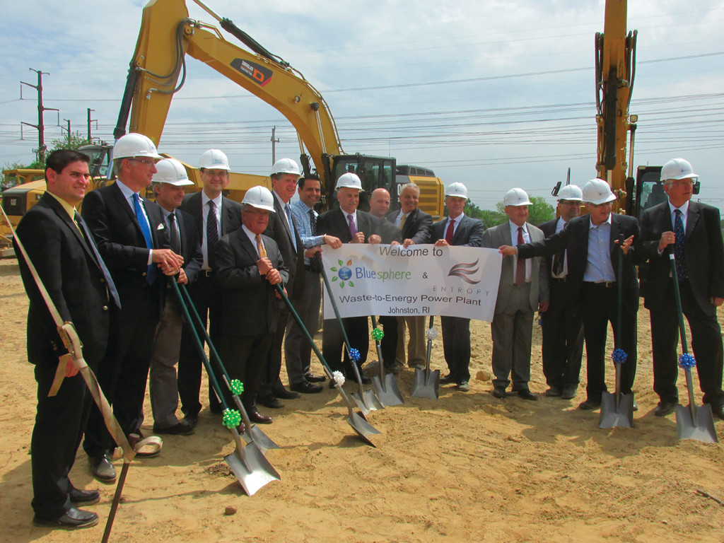 CAUSE FOR CELEBRATION: Officials take part in the recent groundbreaking ceremony at Blue Sphere Corp.'s new facility.