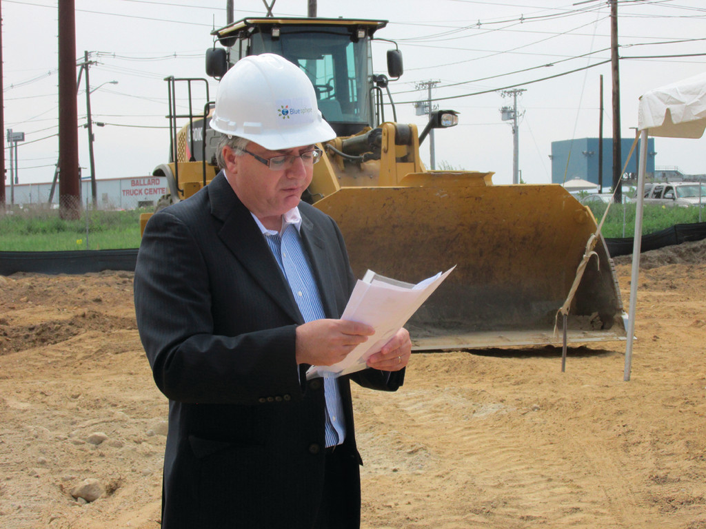 BIG PLANS: Shlomi Palas, CEO of Blue Sphere, looks over plans for his corporation's new plant in Johnston.
