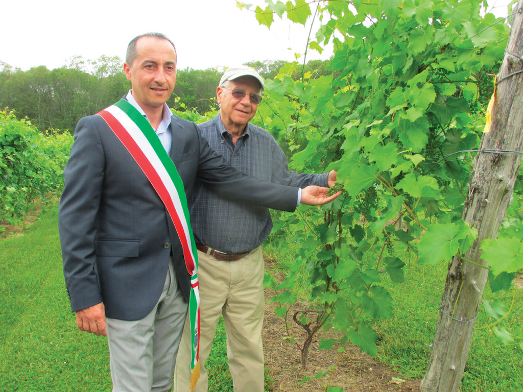 STOP AT THE VINYARD: Verde Vineyards owner Giacomo Verde meets with Panni Mayor Pasquale Ciruolo during a trip to the vinyard.