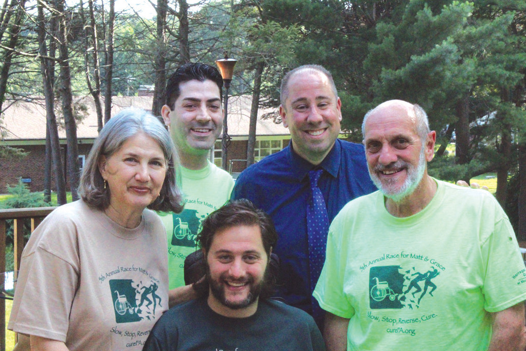 FAMILY: Matt DiIorio, front, and his family and friends are preparing for next month's sixth annual Race for Matt and Grace. Also pictured, from left, are Sally Ann DiIorio, Michael Crawley, Gerry Mirabile and Jack DiIorio.