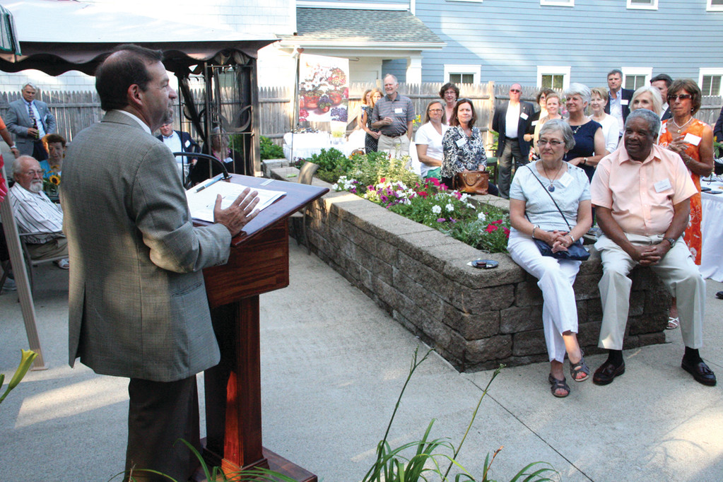 REMEMBERING DAN: Steven Horowitz, president and CEO of Saint Elizabeth Community, addresses friends of the late Dan Pendergast at Cornerstone Adult Services Monday evening.