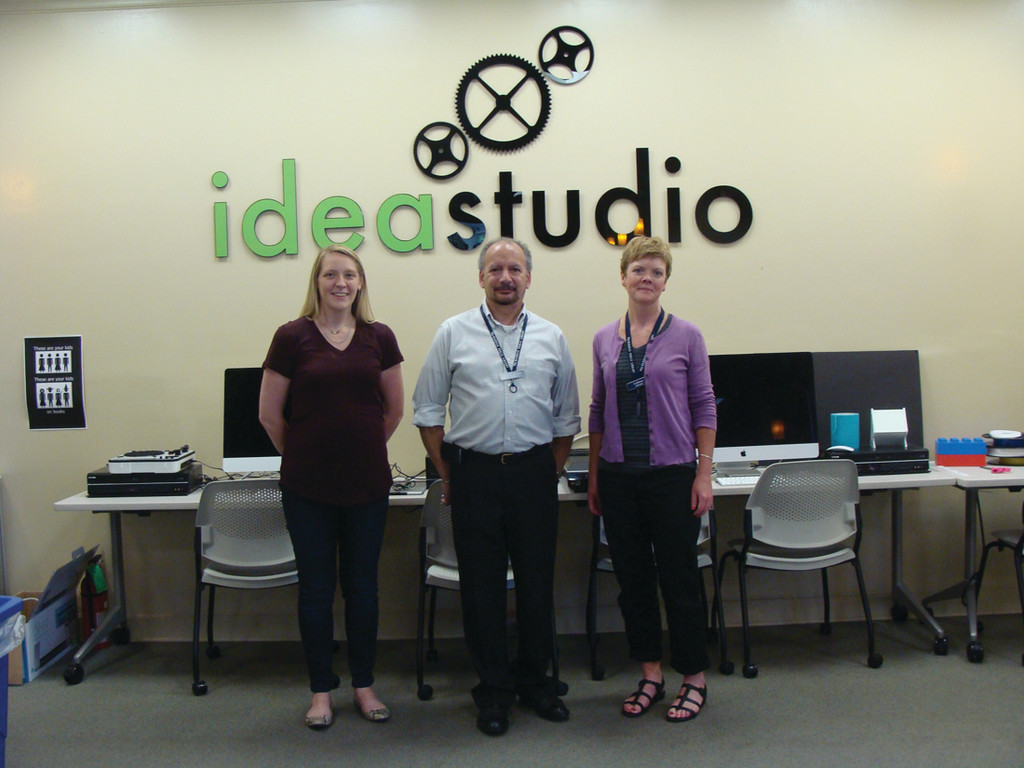 STUDIO TEAM: Pictured from left are Jana Stevenson, Colleen Wolf and Christopher LaRoux, director of the Warwick Public Library. As a team with Evan Barta, they are trying to expand the programs offered by the Idea Studio. Currently, their computer classes are the most popular.