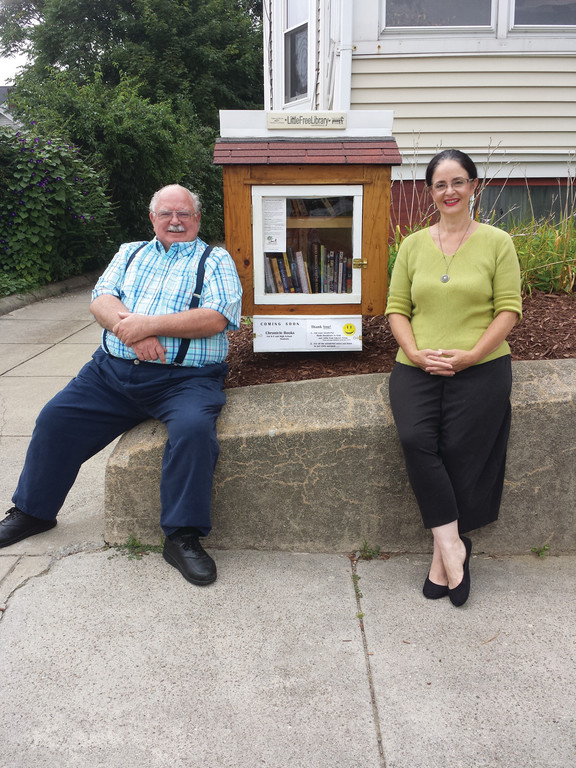 LITTLE FREE LIBRARIANS: Chloe and Jim Rigg have joined the thousands of people all over the world who have added a Little Free Library to their property.