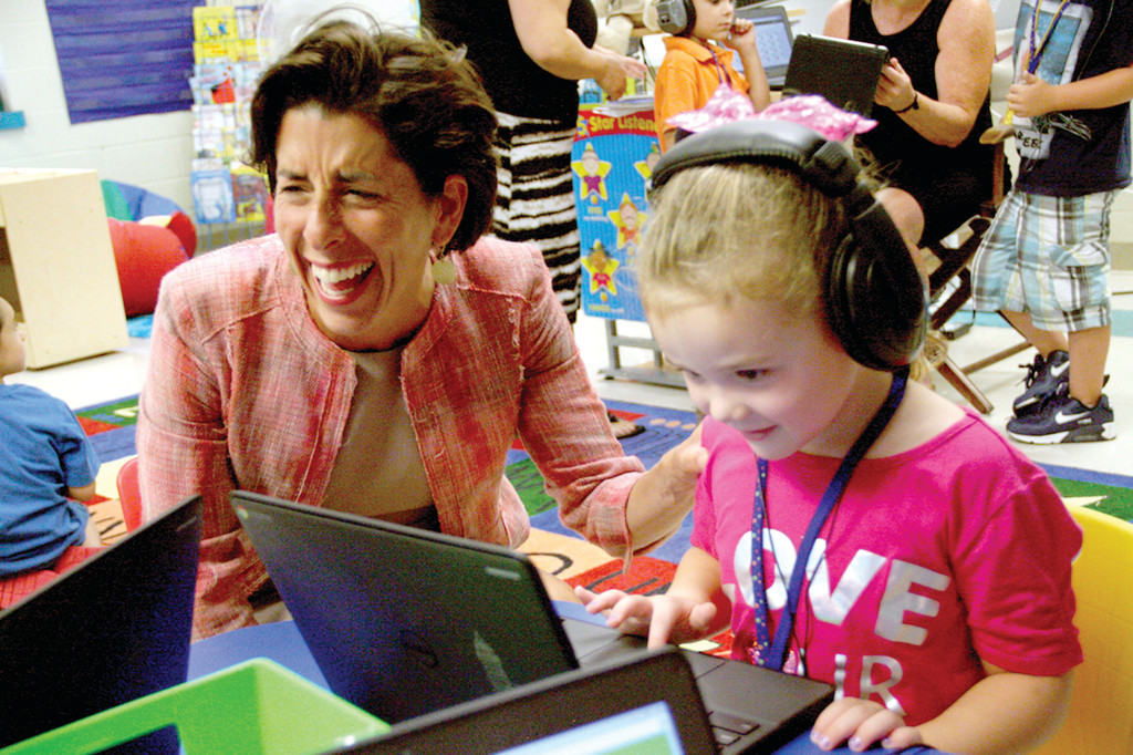NEED A JOB? After Governor Gina Raimondo watched kindergartener Peyton Martin go through and IXL math program on a Chromebook, she suggested Peyton work in her office. When Peyton shook her head, Raimondo burst out laughing.
