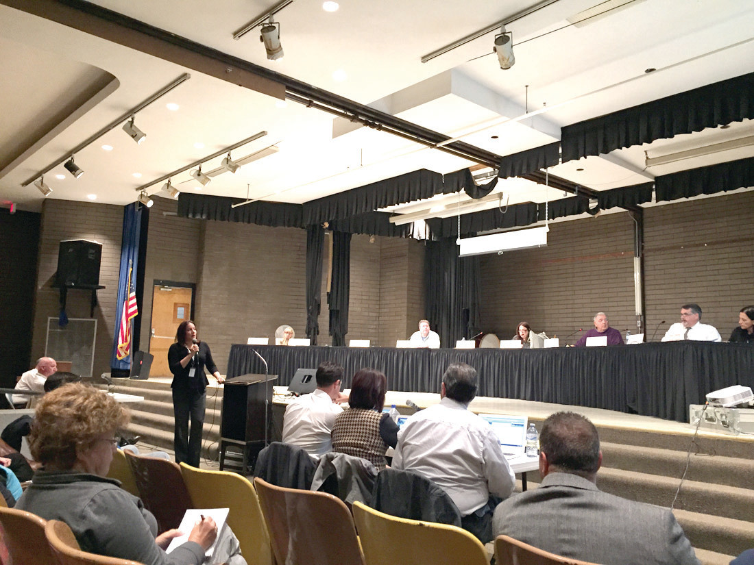 MAJOR PLANS: Superintendent Jeannine Nota-Masse introduces the presentation on the proposed sixth-grade transition and conversion of Hope Highlands into a middle school during Monday�s forum at Western Hills.