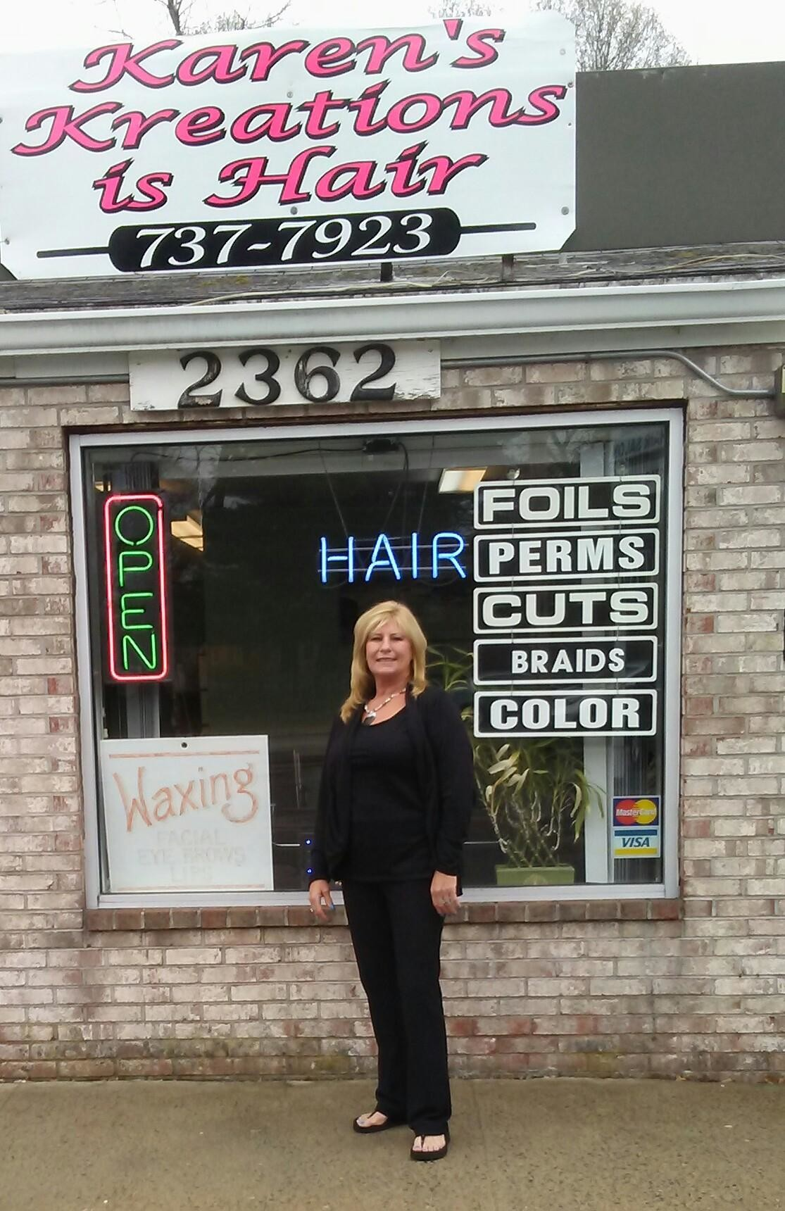 Meet Karen Sutton, the owner of Karen's Kreations Hail Salon and 35-year cosmetologist, posing here in front of her salon on West Shore Road.