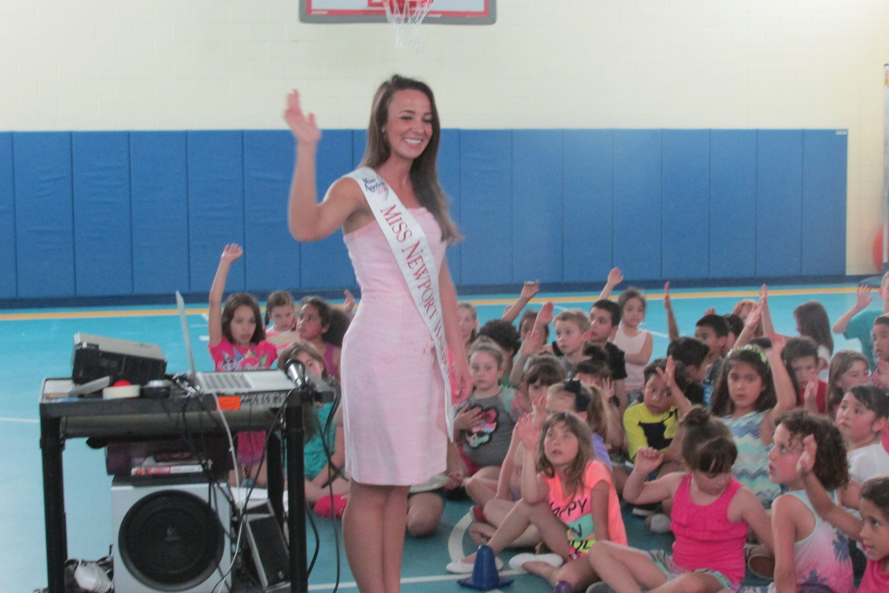 CHOOSE TO BE NICE: Nicolette Peloquin shared a positive message with students at Winsor Hill Elementary School.