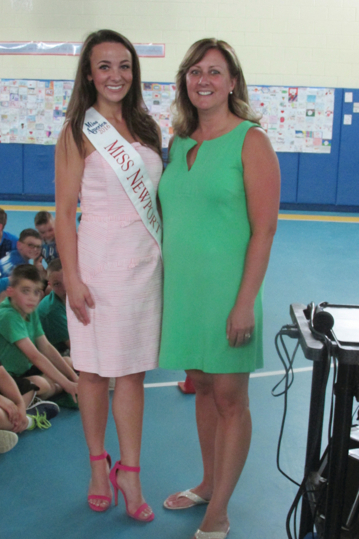 TEAM EFFORT: Nicolette Peloquin, Miss Newport Harbor, is joined by Susan Parillo, a health and physical education teacher who coordinated Healthy Kids Day.