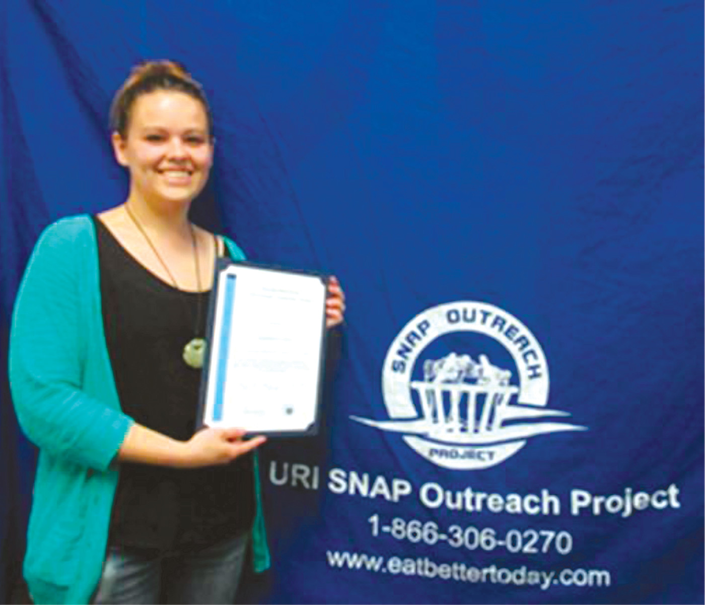 AWARD WINNER: Stephanie Bush was the winner of the 2016 Dorothy Shackleton Anti-Hunger Leadership Award from the URI Feinstein Center for a Hunger Free America. She is a 2016 graduate of URI and will be participating in an internship program with Keene State College this fall.