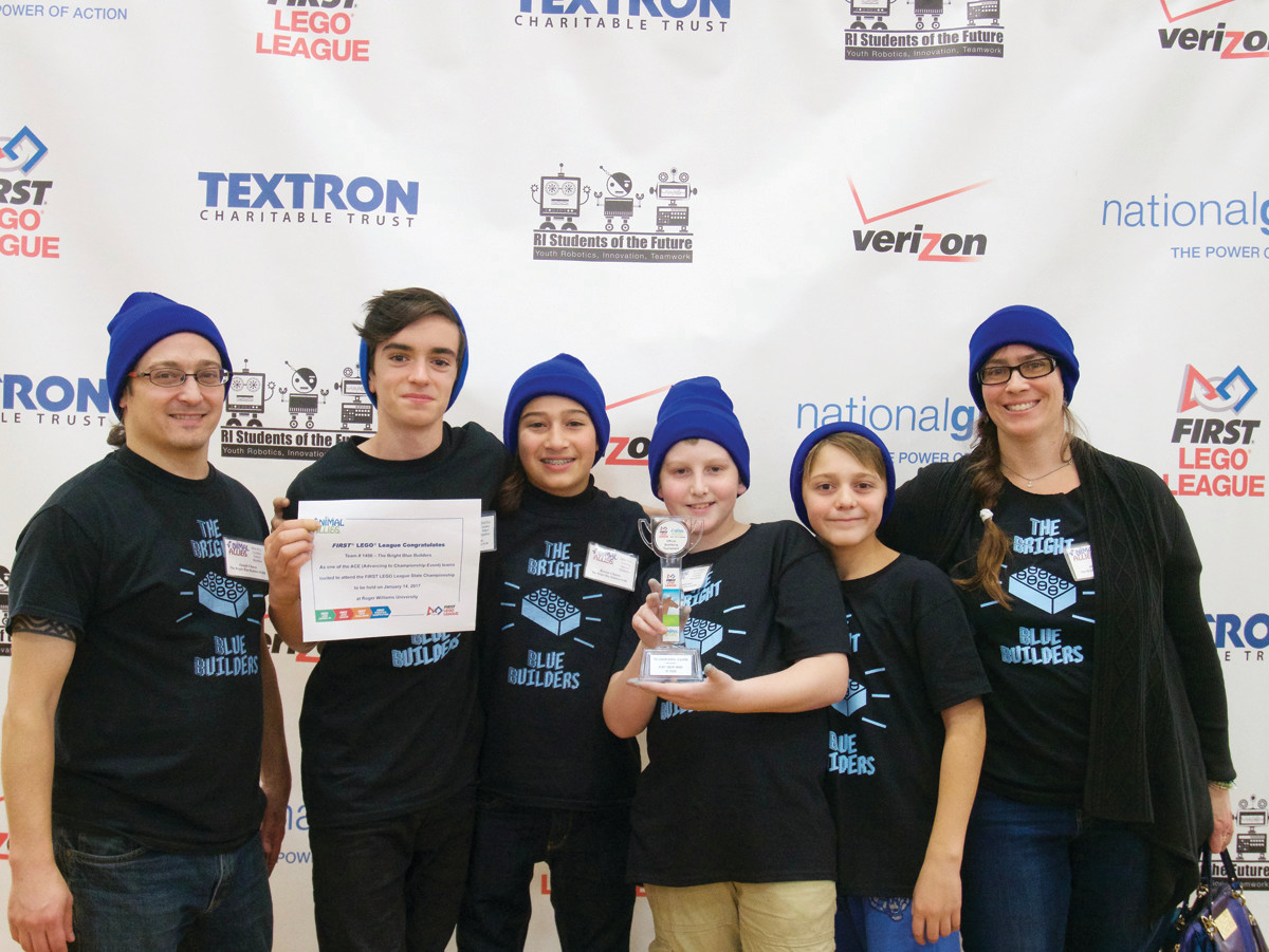ROBOT DESIGN AWARD: The Bright Blue Builders won the Robot Design Award at the FIRST LEGO League qualifying tournament on November 17 at the Gordon School. Left to Right: Coach Joseph Chaves, Tyler Shammas, Rowan Chaves, of Cranston, and Lucien Chidester, Jack Silva and Mary Rapien, of Warren.