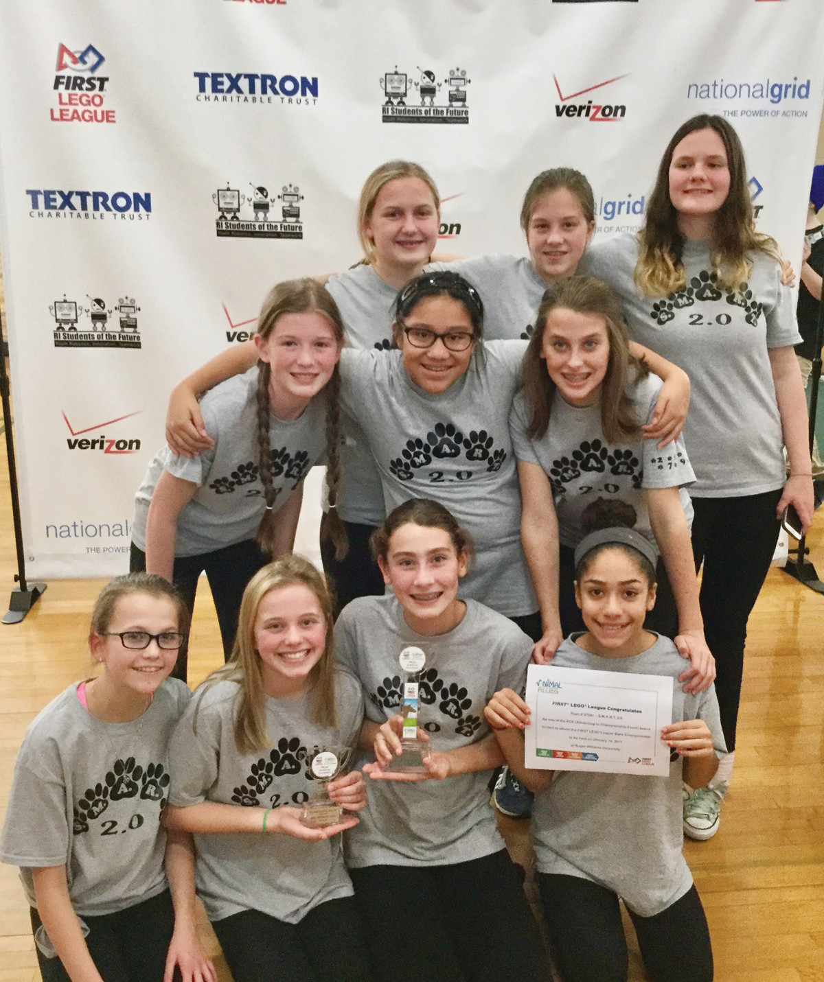AWARD-WINNING TEAM: S.M.A.R.T. 2.0 includes: (front row, left to right) Daria Smuk (Smithfield), Margaret Mahoney (East Providence), Gabriella Osario-Palo (Cranston), Eva Matos (Providence); (middle row) Ainsley Pattie (Warren), Ava Troino (East Providence), Maeve Martineau (West Warwick); (back row) Wren Hager (Bristol), Lucy Bosch (Providence) and Isabella Heffernan (Warwick).