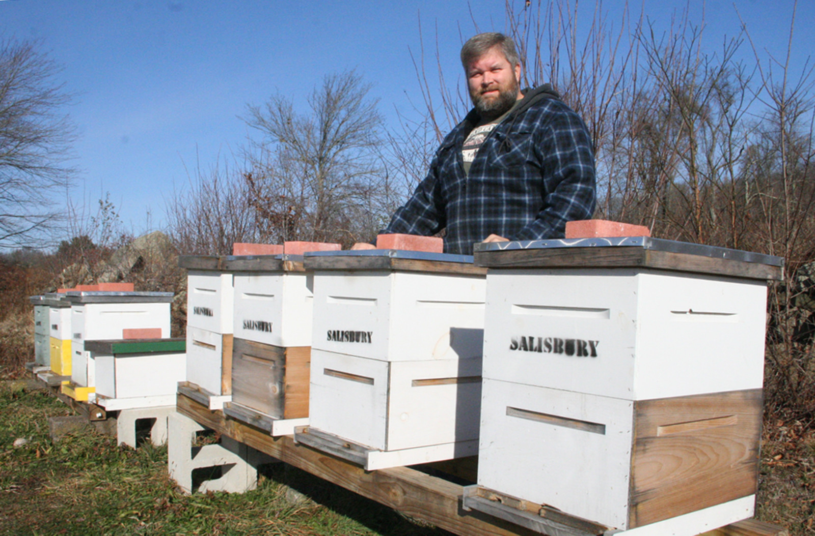 Keith Salisbury, president of the Rhode Island Beekeeping Association, checked on his hives Dec. 11 expecting to find them dormant. A few solitary bees were venturing out and, as he found in one hive, bees were eating into the sugar that he provides for them to get through the winter.