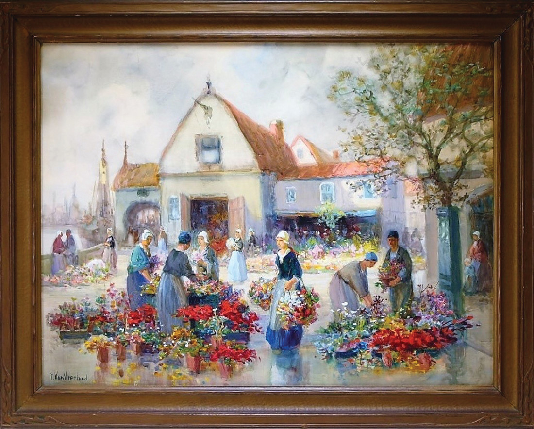 LADIES WITH FLOWERS: Pictured is the Ladies with Flowers painting, which is a watercolor and gouache painting of a Dutch flower market by Francis William Van Vreeland (Calif./Neb, 1879-1954) (est. $300-600).