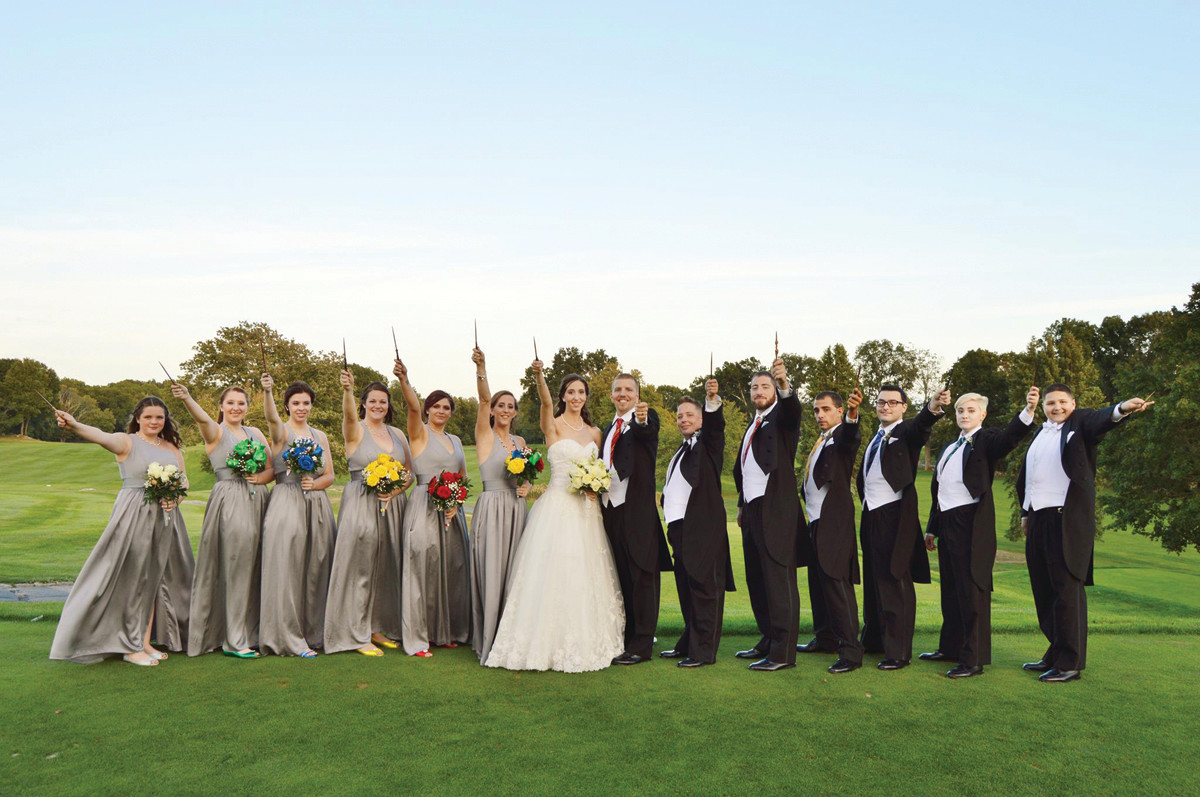 "A MAGICAL DAY: Chris and Kerri Nash created a magical ""Harry Potter"" wedding which included wands for the bride, groom and bridal party."