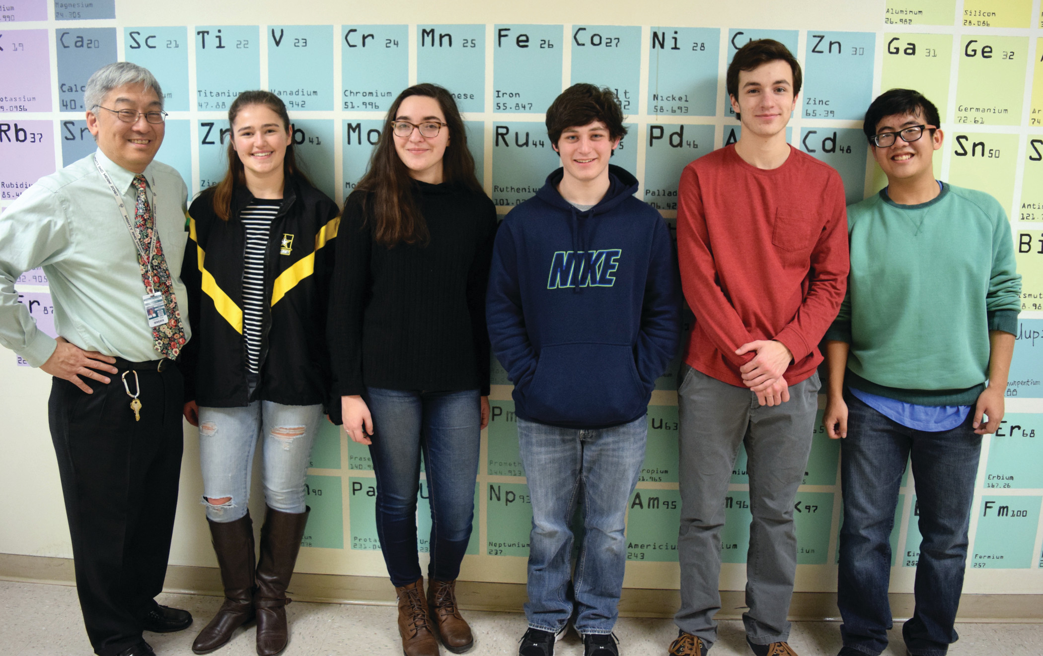 OCEAN STATE OF MIND: Cranston East is headed back to the Quahog Bowl, an ocean science knowledge competition, for the 13th time. From left to right: Coach Howard Chun, Ashley Paquin, Leah Struminski, Noah Gibb, Eli Hill and Sean Su.
