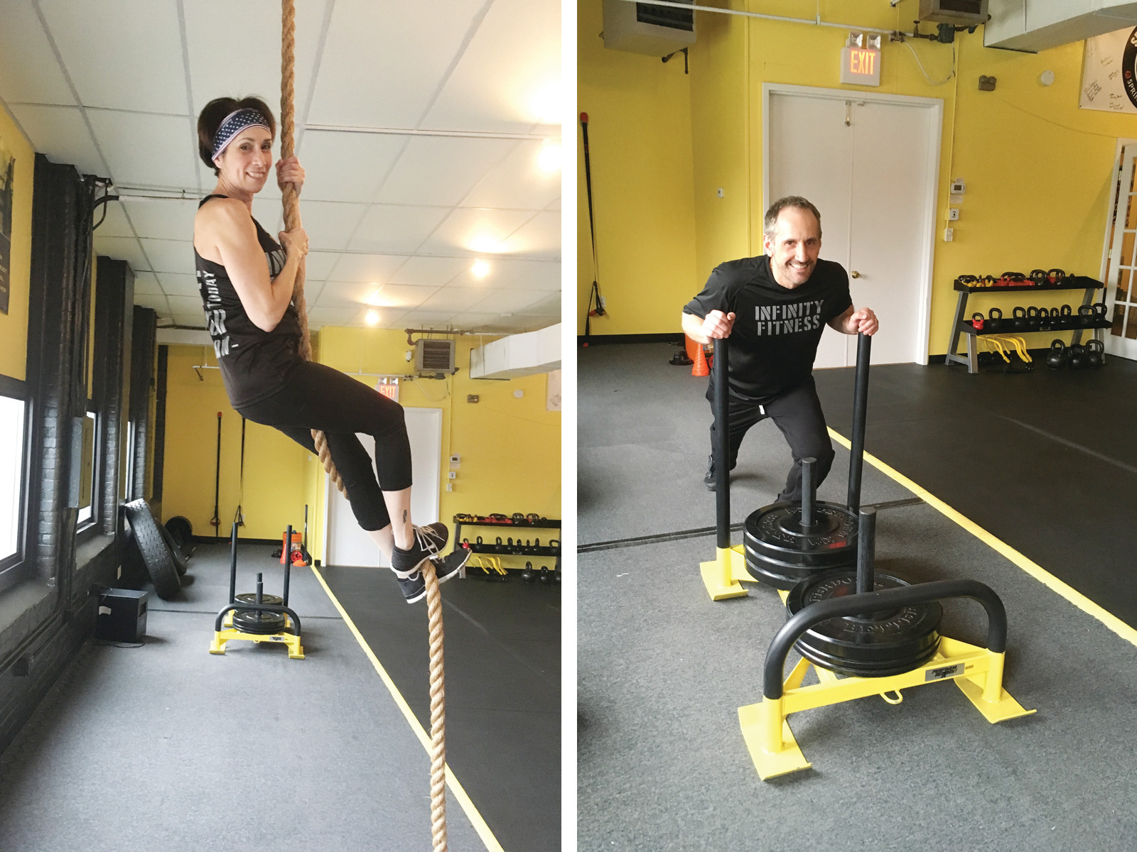 "Jessica and Tony Andrews tackle the climbing rope and 200lbs. of weight on the ""sled"" at the busy and comprehensive fitness center, Infinity Fitness and Wellness in Cranston."