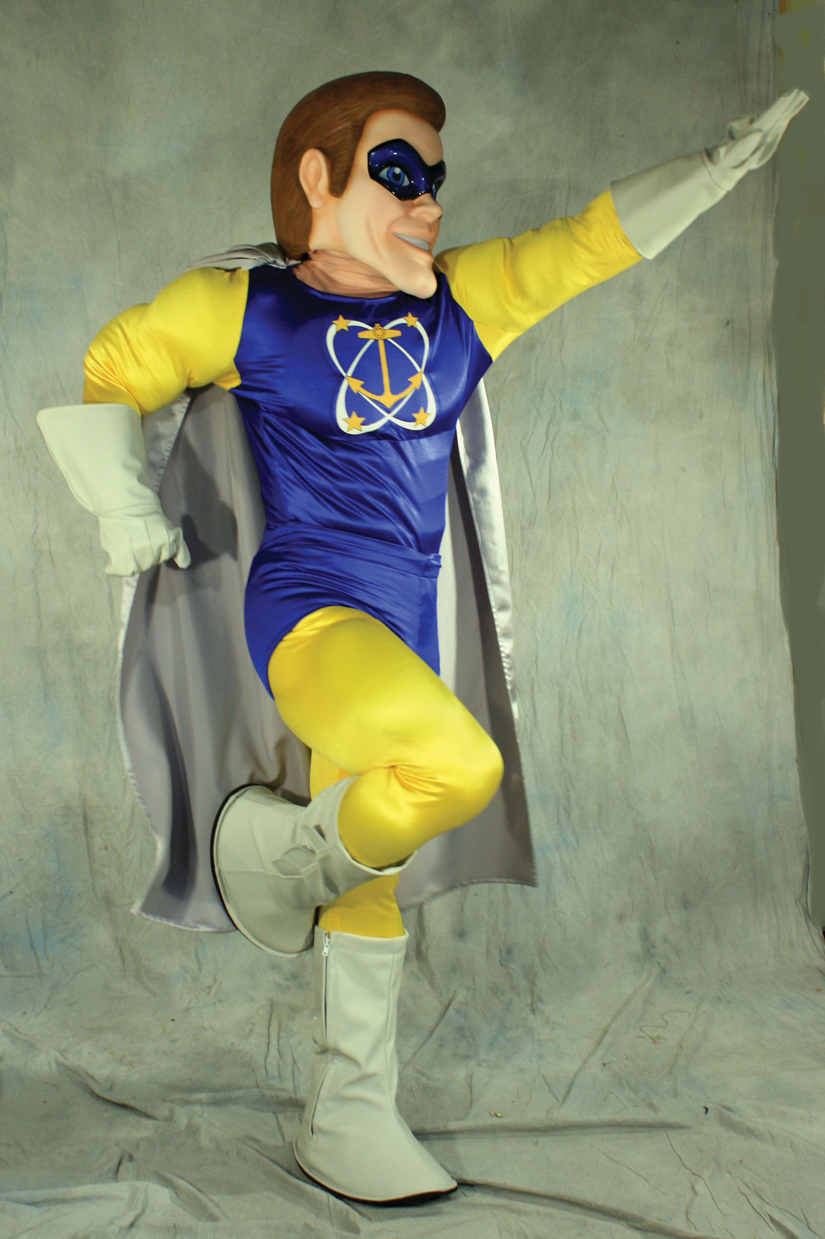 R.I. SUPERHERO: Hope Man, the creation of attorney Kevin Murphy, is pictured in full costume.