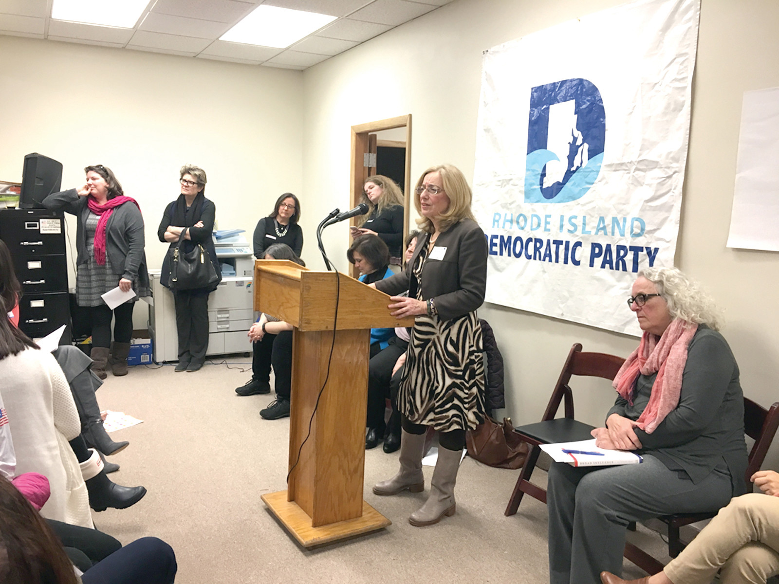 WHAT NEXT?  Representatives Lauren Carson (speaking)  and other elected officials joined forces to mobilize Democratic women to take action in the Trump era.